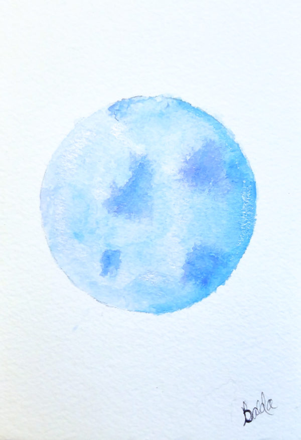 Blue full moon watercolor painting