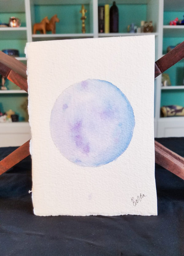 full moon painting purple blue