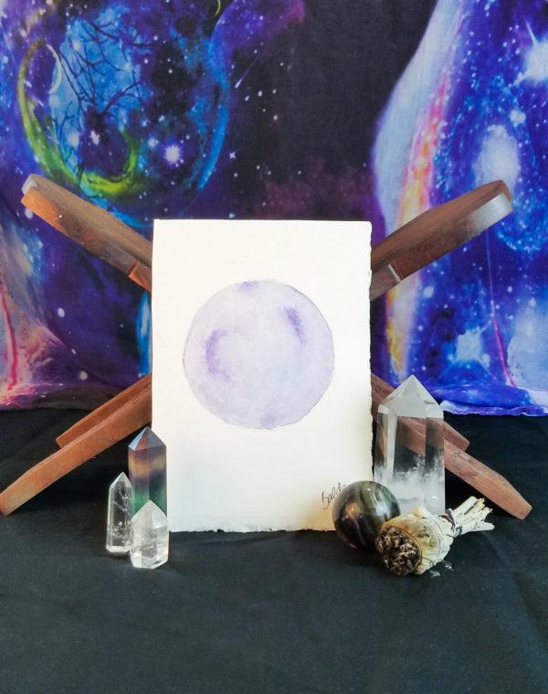 Lavender full moon watercolor painting