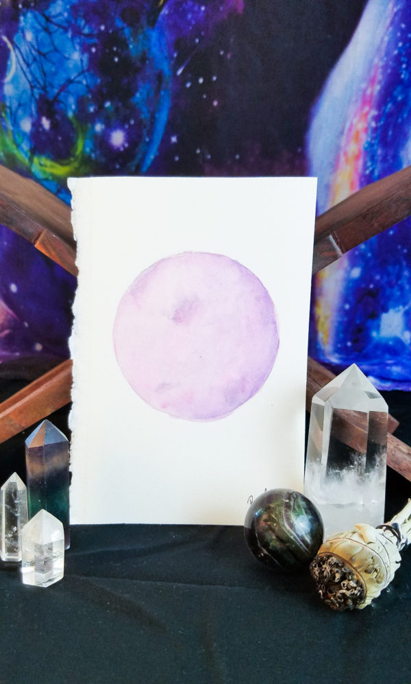 Pink and purple full moon watercolor painting