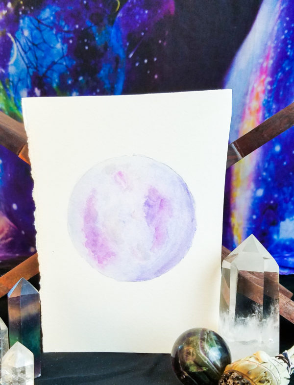 Purple and pink full moon watercolor painting