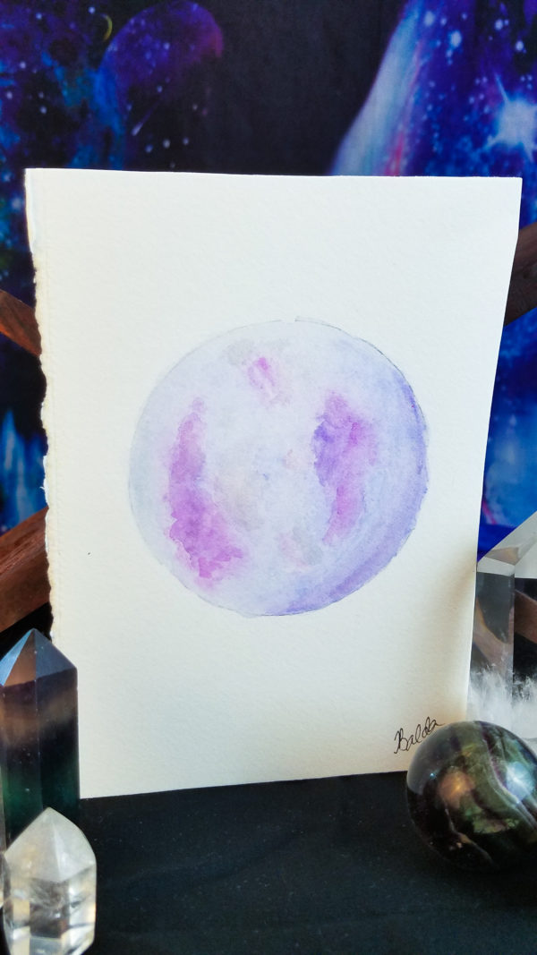 full moon painting in purple and pink