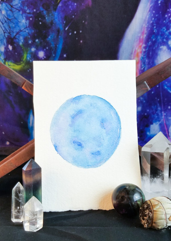 Bright blue full moon watercolor painting