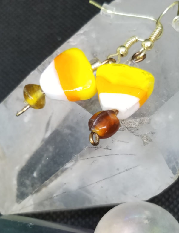 Candy Corn glass earrings