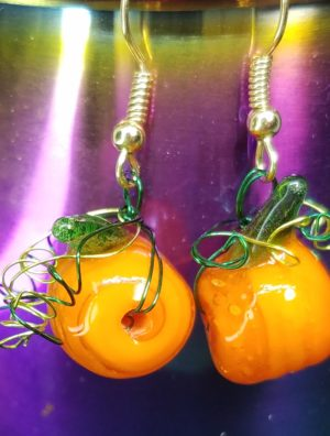 pumpkin and swirl earrings