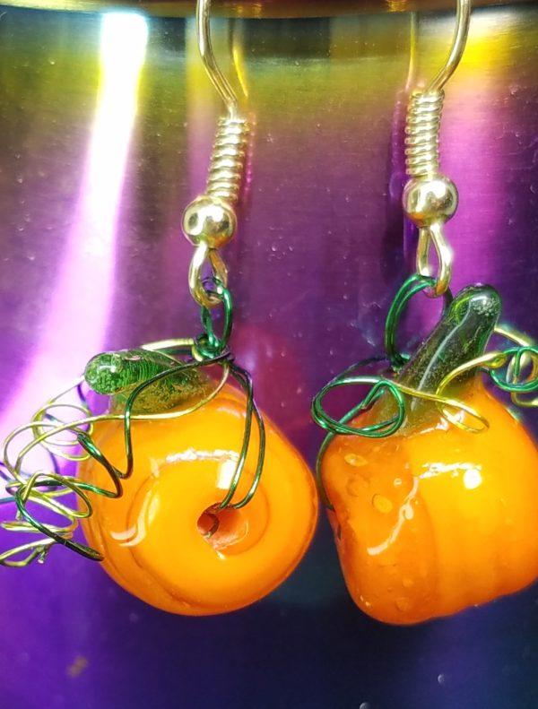 pumpkin and swirl earrings