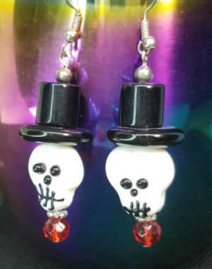 Bone Daddy Skull with top hat earrings