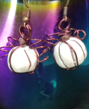 White pumpkin earrings